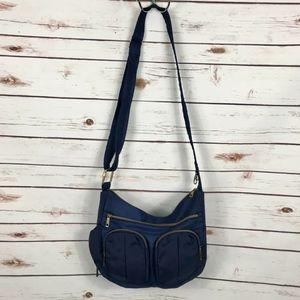 Travelon Anti Theft Twin Pocket Bucket Bag Blue